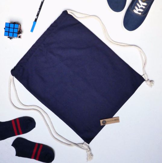 ARTE Canvas Drawstring Bag | Navy Blue | L